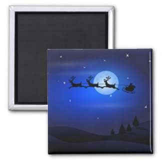 Santa Flys en la noche Imán Cuadrado