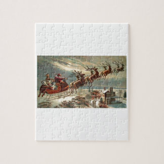Santa Flys Over Roof Tops Jigsaw Puzzle