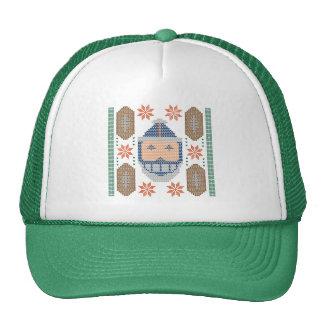 Santa Football Blue Orange Ugly Christmas Sweater Trucker Hat