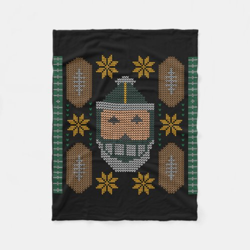 Santa Football Green Yellow Ugly Christmas Sweater Fleece Blanket