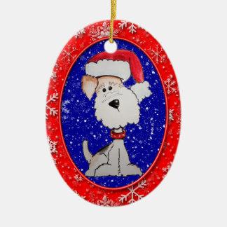 Santa Fox Terrier Ceramic Ornament