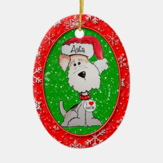 Santa Fox Terrier Christmas Tree Ornament