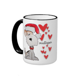 Santa Fox Terrier Coffee Mugs