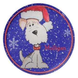 Santa Fox Terrier (Customizable) Dinner Plate