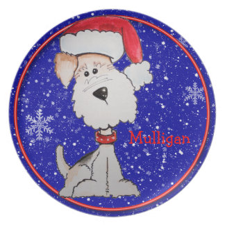 Santa Fox Terrier (Customizable) Dinner Plates