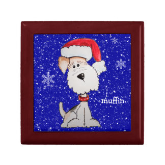 Santa Fox Terrier (Customizable) Jewelry Box