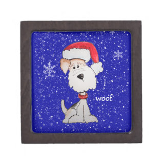 Santa Fox Terrier (Customizable) Premium Jewelry Boxes