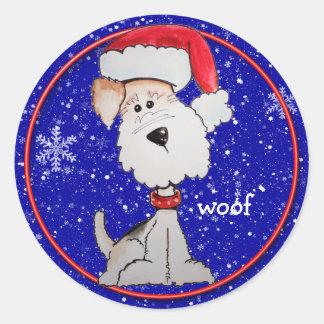 Santa Fox Terrier (Customizable) Stickers