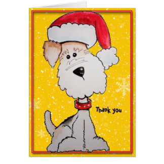 Santa Fox Terrier (Customizable) Thank you Stationery Note Card