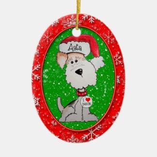 Santa Fox Terrier Double-Sided Oval Ceramic Christmas Ornament
