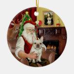 Santa-French Bulldog 1 Double-Sided Ceramic Round Christmas Ornament