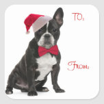 Santa Frenchie Gift Tags Square Sticker