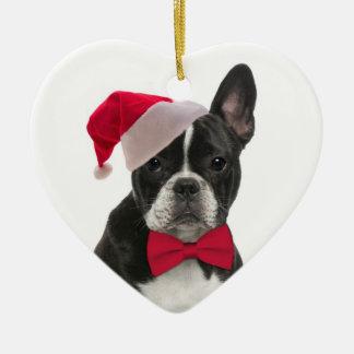 Santa Frenchie Ornament
