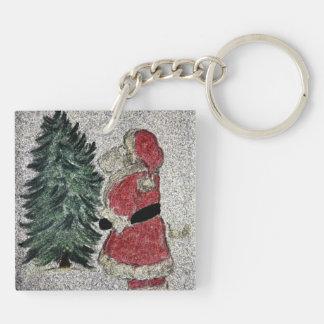 Santa Fresco Double-Sided Square Acrylic Keychain