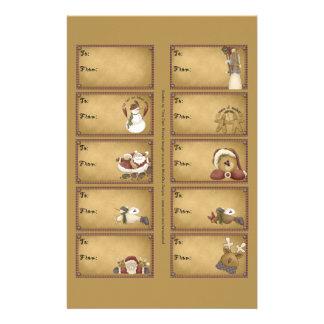 Santa & Friends Gift Tags on a Sheet - 10 Designs Flyer Design