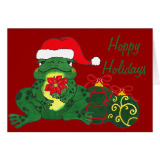 Santa Frog & Ornaments - Christmas Card