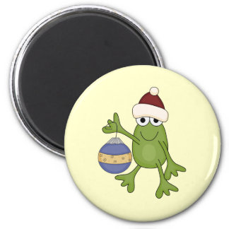 Santa Frog with Ornament Tshirts and Gifts 2 Inch Round Magnet