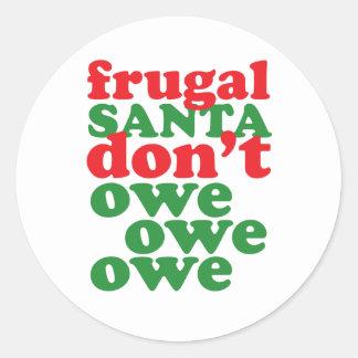 Santa frugal no debe debe debe etiquetas redondas