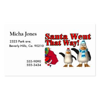 Santa fue que los pingüinos del navidad de la mane tarjetas de visita