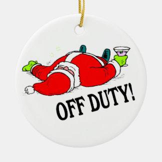 Santa fuera de servicio bebido adorno navideño redondo de cerámica