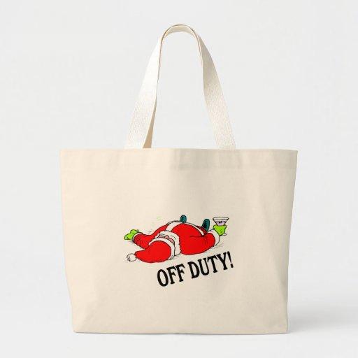 Santa fuera de servicio (bebido) bolsa tela grande