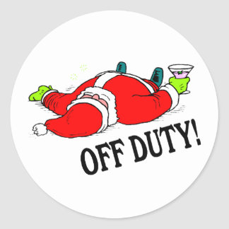 Santa fuera de servicio (bebido) pegatina redonda