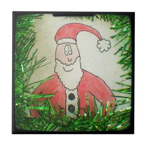 Santa Funny Christmas Drawing Ceramic Tile