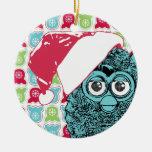 Santa Furby Double-Sided Ceramic Round Christmas Ornament