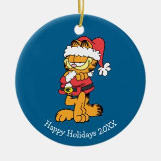 Santa Garfield Ceramic Ornament