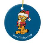 Santa Garfield Double-Sided Ceramic Round Christmas Ornament