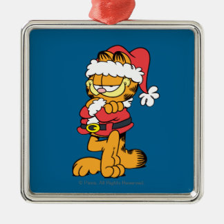 Santa Garfield Metal Ornament