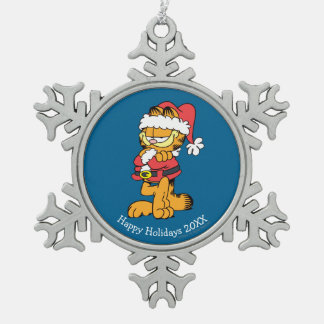 Santa Garfield Snowflake Pewter Christmas Ornament