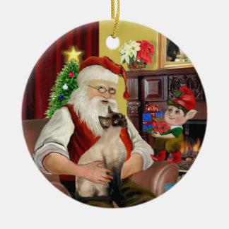Santa - gato siamés del punto del sello adorno de navidad