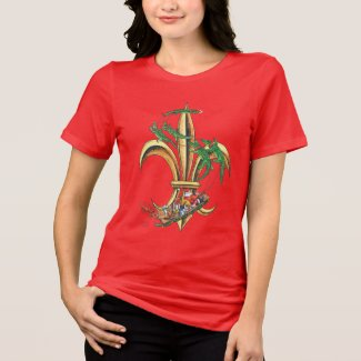 Santa & Gators Fleur-de-lis Christmas T-shirt