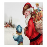 Santa Getting Directions, A Vintage Scene Posters