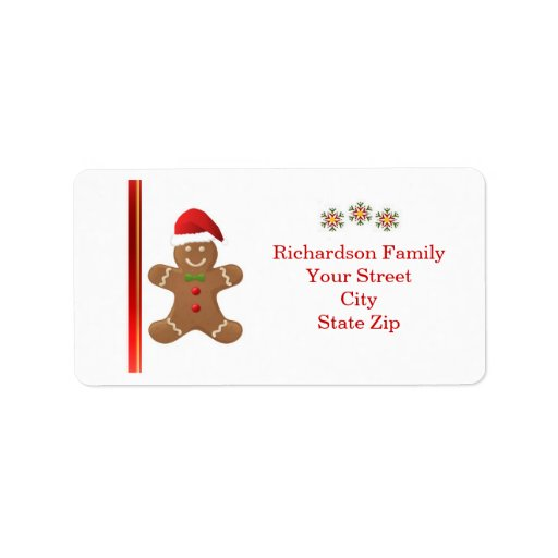 Santa Gingerbread man, snowflakes Christmas label Address Label ...