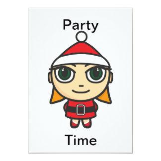 Santa Girl Character Party Time Invitation