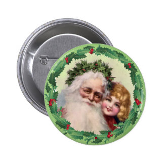SANTA, GIRL & HOLLY by SHARON SHARPE Button
