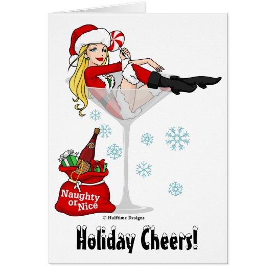 Santa Girl Martini Card