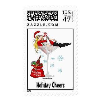 Santa Girl Martini Stamps