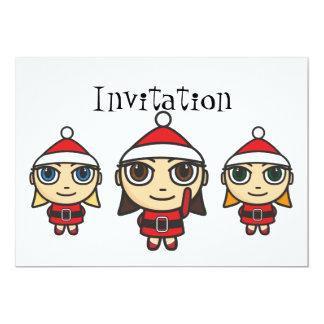 Santa Girls Cartoon Invitation