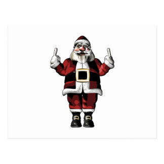 Santa Giving the Finger Postcard