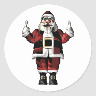 Santa Giving the Finger Stickers