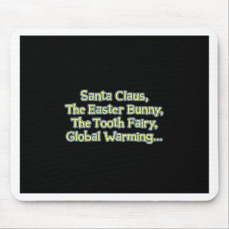 Santa_GlobalWarming_btn_Blk Mouse Mats