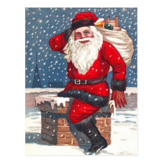 Santa Going Down The Chimney Postcard