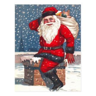 Santa Going Down The Chimney Postcard