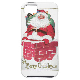 Santa Going Down the Chimney Vintage Card iPhone 5 Cover