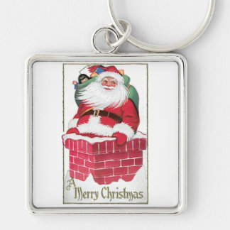 Santa Going Down the Chimney Vintage Card Silver-Colored Square Keychain