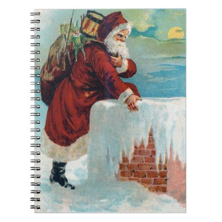 Santa Going Down the Chimney Vintage Christmas Notebook