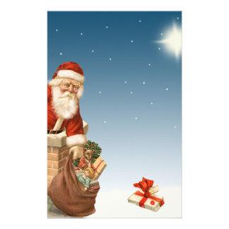 Santa going down the Chimney Vintage design Stationery Design